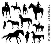 set of vector horses silhouettes | Shutterstock .eps vector #155246162