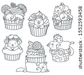 Stock vector set of kittens and cupcakes back and white doodle illustration of a cute little kittens with 1552593458