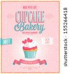 Vintage Cupcake Poster. Vector...