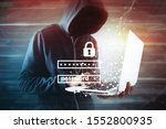 Hacker With Laptop. Computer...