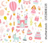 pink pattern for girls with... | Shutterstock .eps vector #1552808135