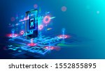isometric virtual abstract... | Shutterstock . vector #1552855895