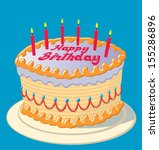 birthday cake with candles | Shutterstock .eps vector #155286896