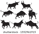 Set Of Bull Silhouettes....