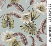 tropical vintage white hibiscus ... | Shutterstock .eps vector #1553034332
