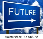 A blue future direction road street sign and the sky - stock photo