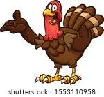 happy cartoon turkey showing...