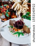 Stock photo salad herring under a fur coat with a pickle with beet rolls tender herring and croutons from 1553140922