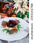 Stock photo salad herring under a fur coat with a pickle with beet rolls tender herring and croutons from 1553142788