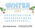 christmas ice decorative font.... | Shutterstock .eps vector #1553191295