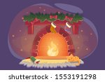card with xmas fireplace and... | Shutterstock .eps vector #1553191298