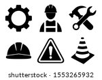 Construction icon set on white background. Construction man, helmet, gear, tools, exclamation mark icon in flat style design. Vector illustration. - stock vector