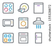 Home appliances web icons, color line contour series