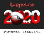 snowy new year numbers 2020 and ... | Shutterstock .eps vector #1553374718