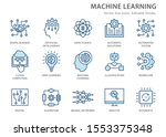 machine learning line icons ... | Shutterstock .eps vector #1553375348