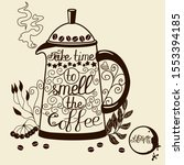 teapot painted with coffee... | Shutterstock .eps vector #1553394185