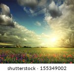 Beautiful Spring Field With...