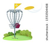 disc golf basket with yellow... | Shutterstock .eps vector #1553504408