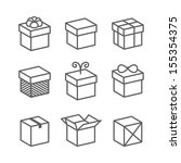 vector gift box icons  holiday...   Shutterstock .eps vector #155354375