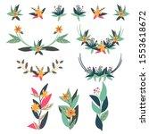 set of floral customize design  | Shutterstock .eps vector #1553618672