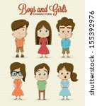boy and girl character... | Shutterstock .eps vector #155392976