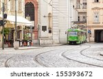 old tram on the streets of the... | Shutterstock . vector #155393672