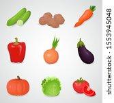 vegetable vector icon set. 3d... | Shutterstock .eps vector #1553945048