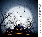 three halloween pumpkins on... | Shutterstock . vector #155397566