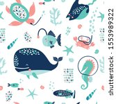 seamless pattern with cute... | Shutterstock .eps vector #1553989322