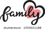 Family With Heart  Vector...