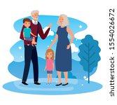 grandparents with grandchildren ...   Shutterstock .eps vector #1554026672