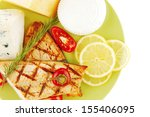 roast salmon and soft cheeses... | Shutterstock . vector #155406095