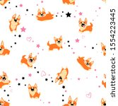 abstract seamless corgi pattern.... | Shutterstock .eps vector #1554223445