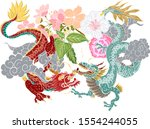 hand drawn dragon tattoo ... | Shutterstock .eps vector #1554244055