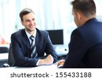 happy business people talking...   Shutterstock . vector #155433188