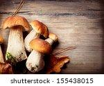 Mushroom Boletus Over Wooden...