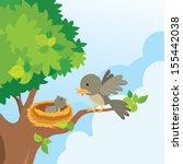 mother bird love. mother bird... | Shutterstock .eps vector #155442038