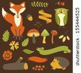 autumn forest  woodland animals ... | Shutterstock .eps vector #155444525