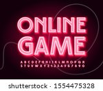 vector neon sign online game.... | Shutterstock .eps vector #1554475328