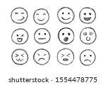 hand drawn emojis faces. doddle ... | Shutterstock .eps vector #1554478775