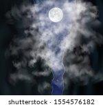 moon shines through the smoke...   Shutterstock .eps vector #1554576182