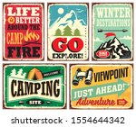 hiking and camping retro signs... | Shutterstock .eps vector #1554644342