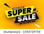 super sale banner. vector... | Shutterstock .eps vector #1554729755