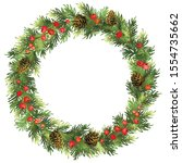 christmas spruce wreath with... | Shutterstock .eps vector #1554735662