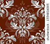 Damask Seamless Silver Floral...