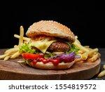 Fresh Tasty Burger On Wooden...