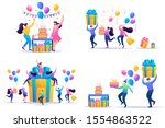 set flat concepts celebrate... | Shutterstock .eps vector #1554863522
