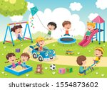 children playing in the park | Shutterstock .eps vector #1554873602