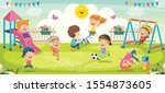 children playing in the park | Shutterstock .eps vector #1554873605