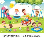 children playing in the park | Shutterstock .eps vector #1554873608